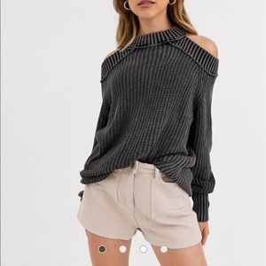 Free People Half Moon Bay Pullover Sweater-Black